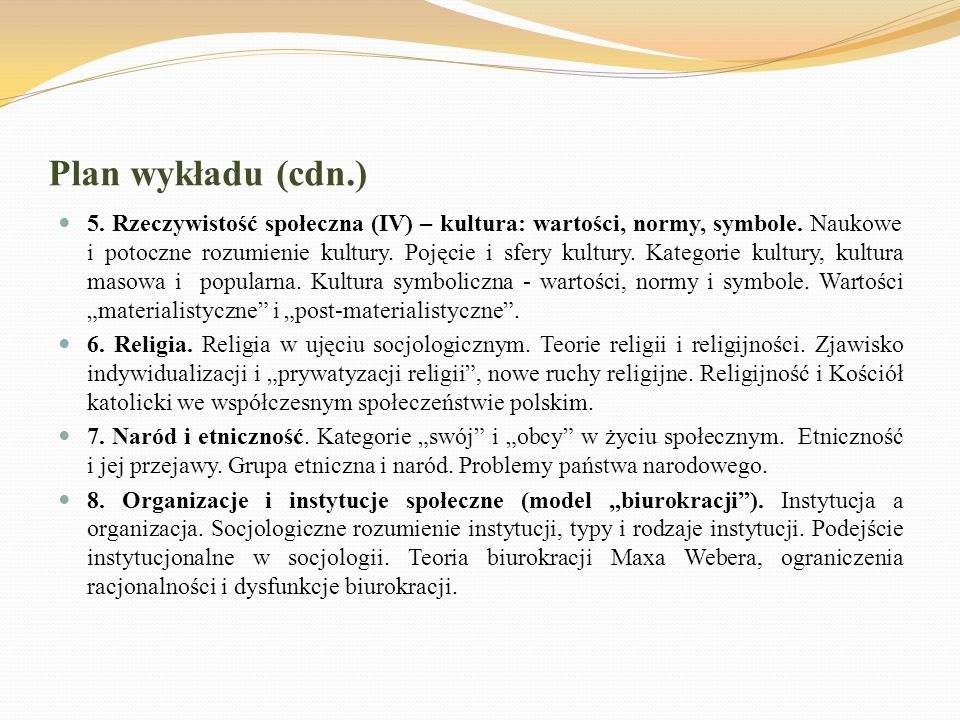 Plan wykładu (cdn.)