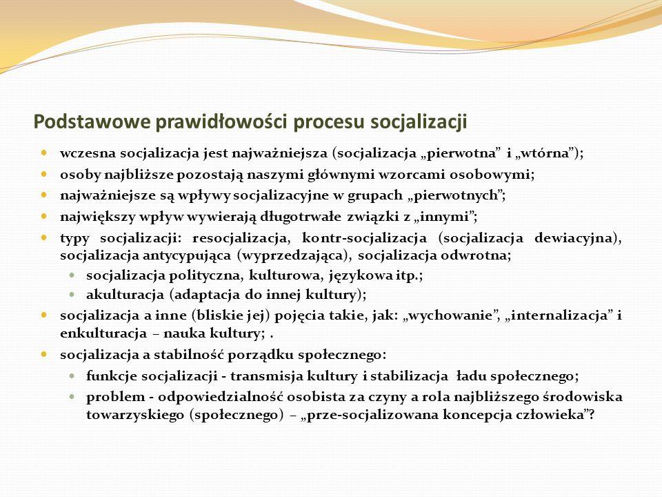 Podstawowe prawidłowości procesu socjalizacji