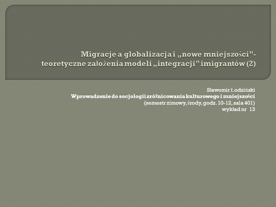 """Migracje a globalizacja i """"nowe mniejszości - teoretyczne założenia modeli """"integracji imigrantów (2)"""