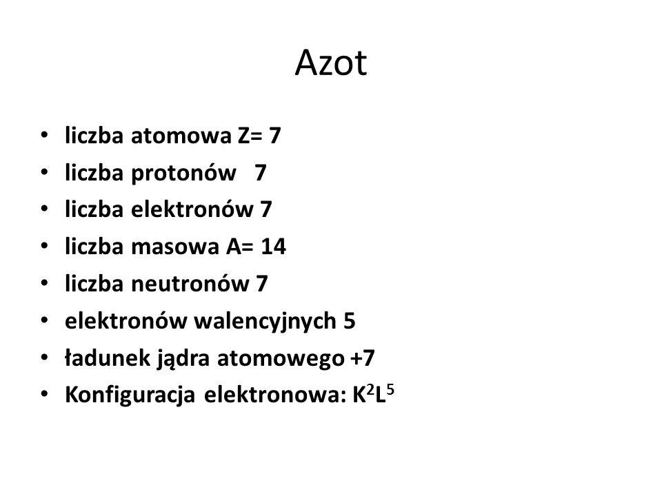 Azot liczba atomowa Z= 7 liczba protonów 7 liczba elektronów 7