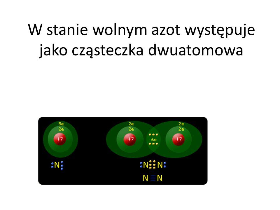 W stanie wolnym azot występuje jako cząsteczka dwuatomowa