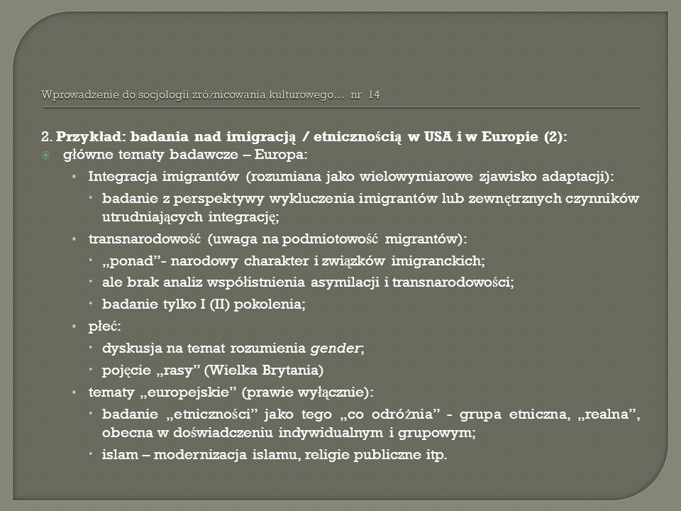 Wprowadzenie do socjologii zróżnicowania kulturowego… nr 14
