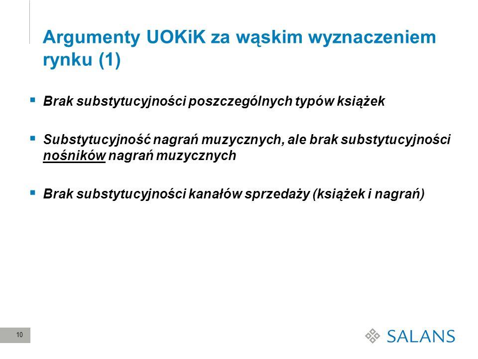 Argumenty UOKiK za wąskim wyznaczeniem rynku (1)