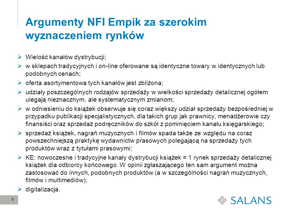 Argumenty NFI Empik za szerokim wyznaczeniem rynków