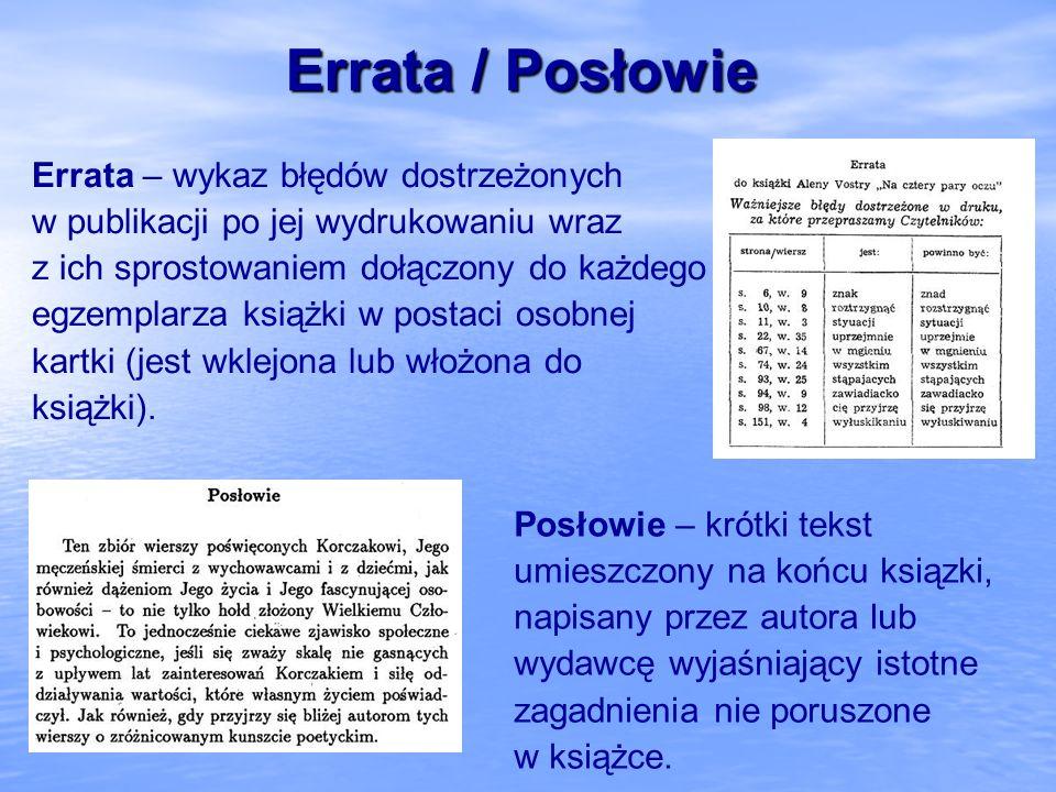 Errata / Posłowie