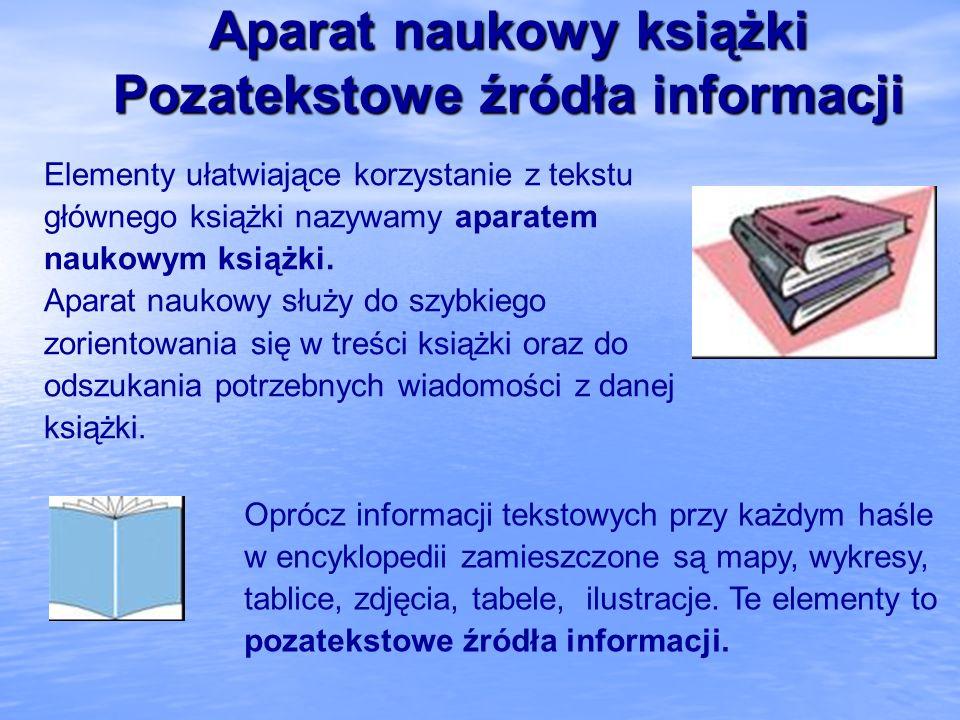 Aparat naukowy książki Pozatekstowe źródła informacji