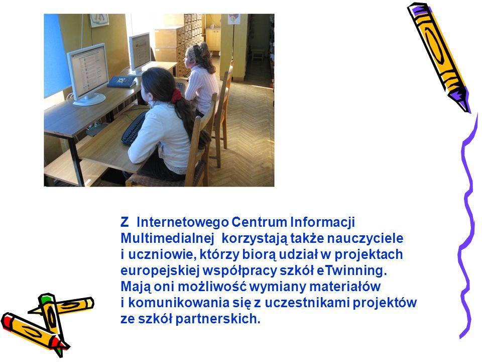 Z Internetowego Centrum Informacji Multimedialnej korzystają także nauczyciele i uczniowie, którzy biorą udział w projektach europejskiej współpracy szkół eTwinning. Mają oni możliwość wymiany materiałów