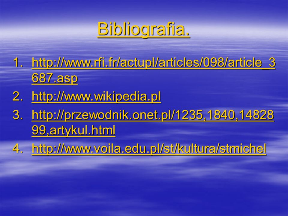 Bibliografia. http://www.rfi.fr/actupl/articles/098/article_3687.asp