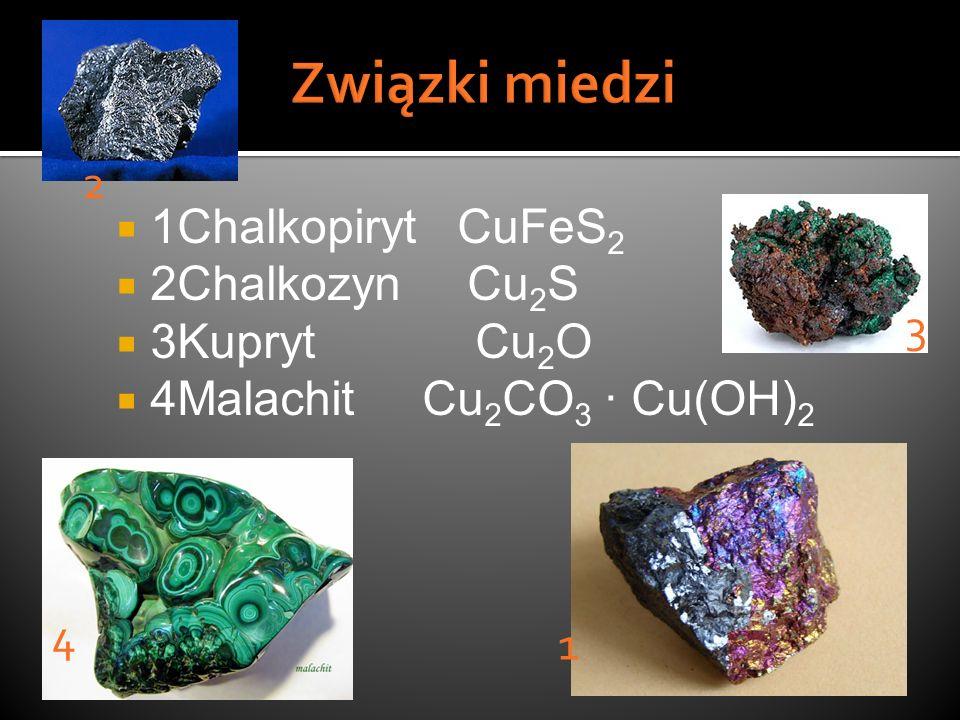 Związki miedzi 2 1Chalkopiryt CuFeS2 2Chalkozyn Cu2S 3Kupryt Cu2O