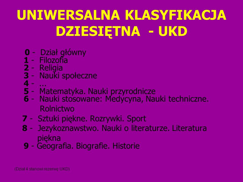 UNIWERSALNA KLASYFIKACJA DZIESIĘTNA - UKD