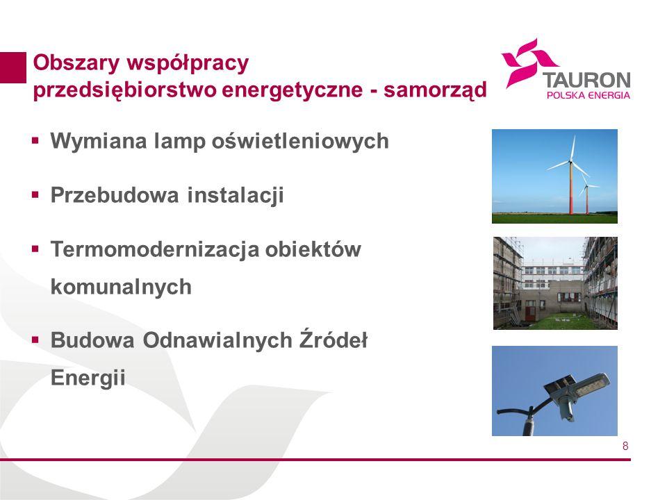 Obszary współpracy przedsiębiorstwo energetyczne - samorząd. Wymiana lamp oświetleniowych. Przebudowa instalacji.