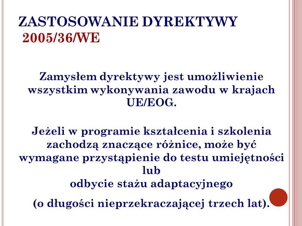 ZASTOSOWANIE DYREKTYWY 2005/36/WE