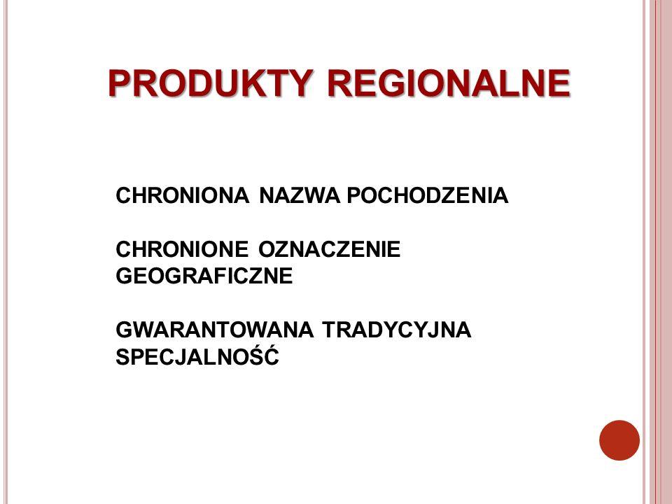 PRODUKTY REGIONALNE CHRONIONA NAZWA POCHODZENIA
