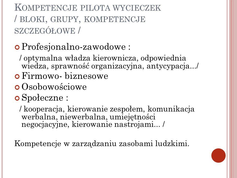 Kompetencje pilota wycieczek / bloki, grupy, kompetencje szczegółowe /