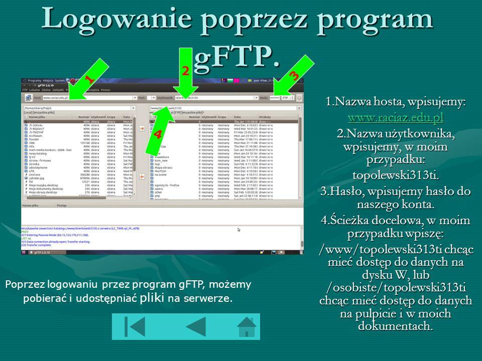 Logowanie poprzez program gFTP.