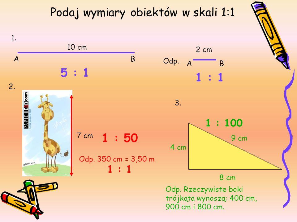 Podaj wymiary obiektów w skali 1:1