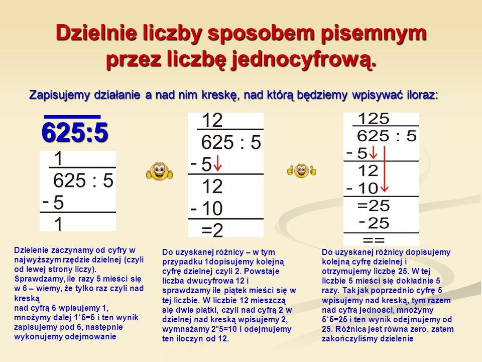 Dzielnie liczby sposobem pisemnym przez liczbę jednocyfrową.
