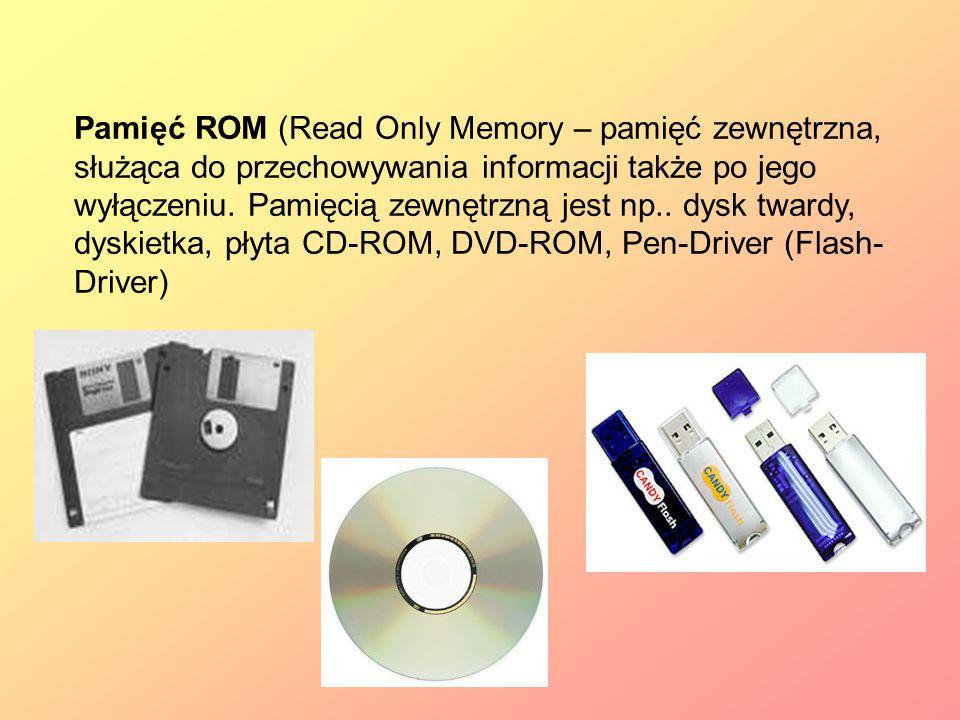 Pamięć ROM (Read Only Memory – pamięć zewnętrzna, służąca do przechowywania informacji także po jego wyłączeniu.