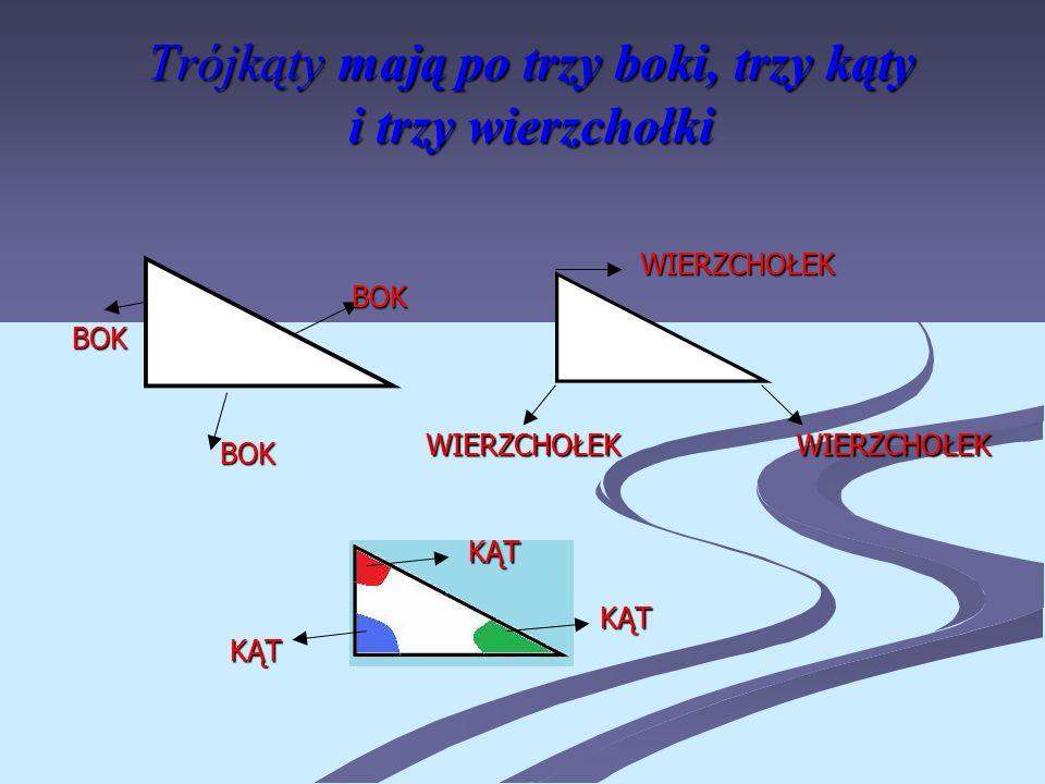 Trójkąty mają po trzy boki, trzy kąty i trzy wierzchołki