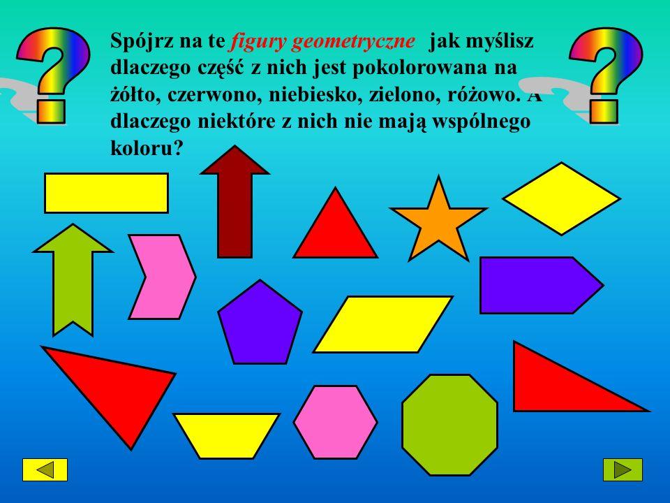 Spójrz na te figury geometryczne jak myślisz dlaczego część z nich jest pokolorowana na żółto, czerwono, niebiesko, zielono, różowo. A dlaczego niektóre z nich nie mają wspólnego koloru