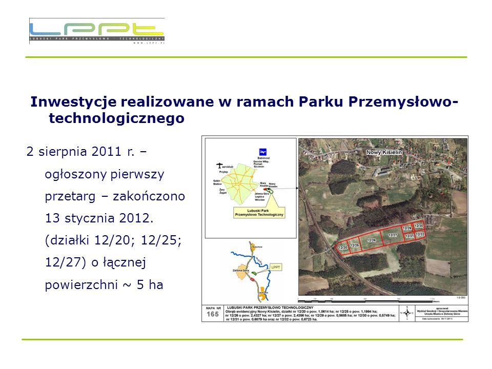 Inwestycje realizowane w ramach Parku Przemysłowo-technologicznego