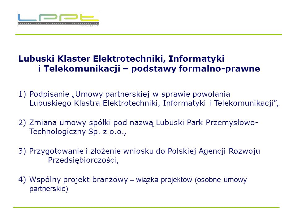 Lubuski Klaster Elektrotechniki, Informatyki i Telekomunikacji – podstawy formalno-prawne