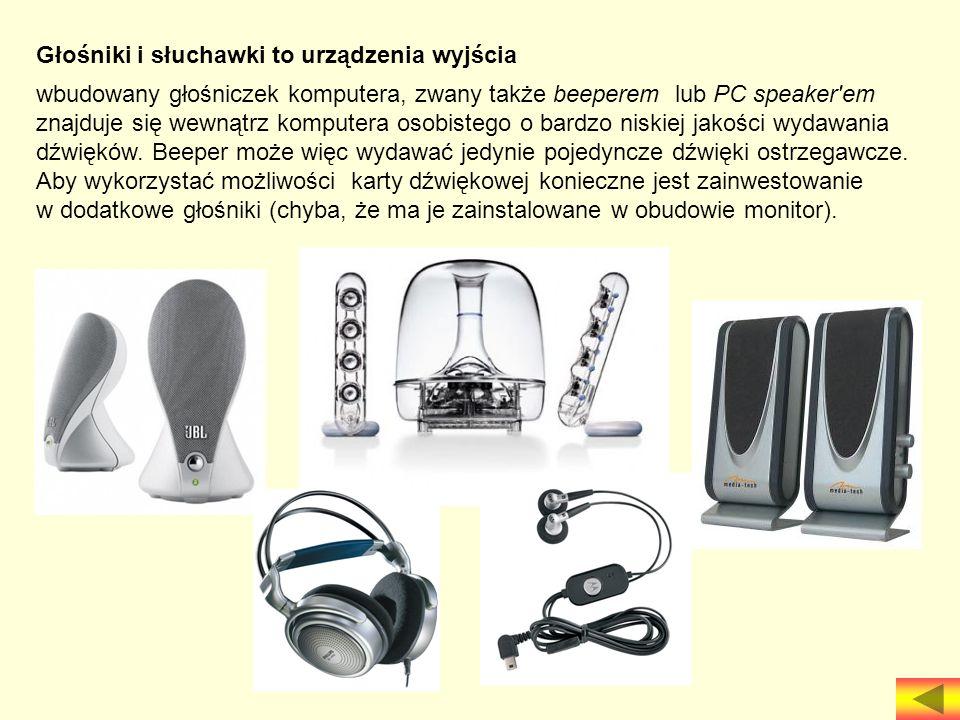 Głośniki i słuchawki to urządzenia wyjścia