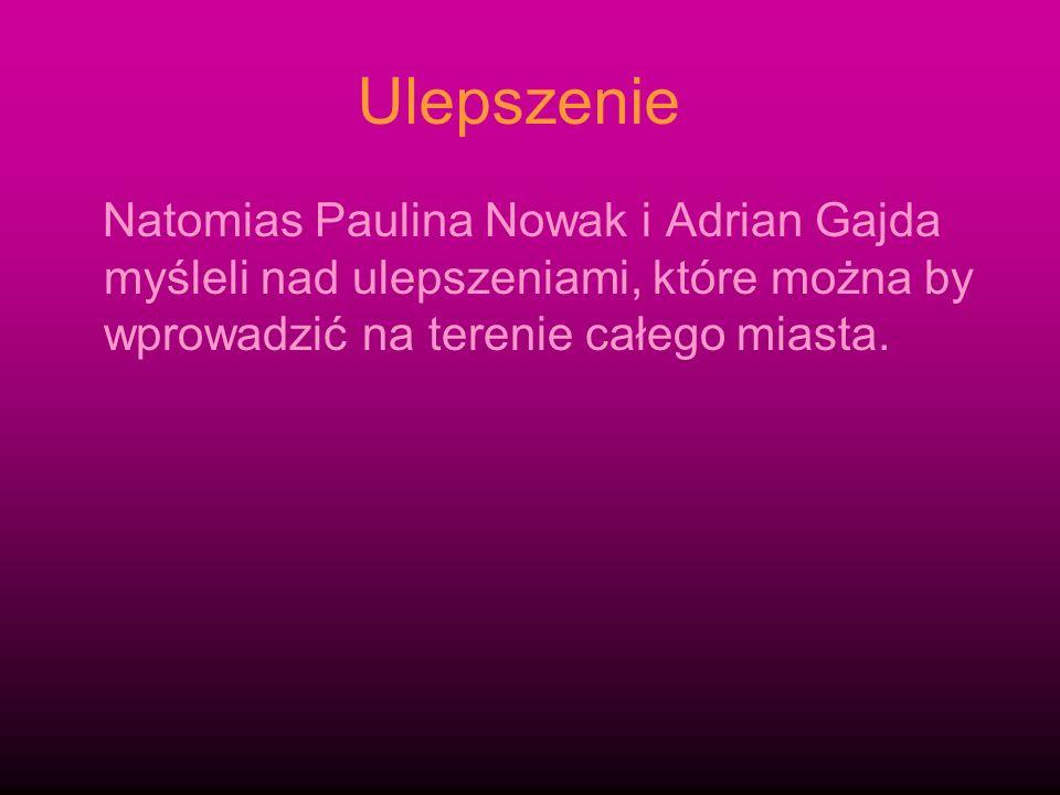 Ulepszenie Natomias Paulina Nowak i Adrian Gajda myśleli nad ulepszeniami, które można by wprowadzić na terenie całego miasta.