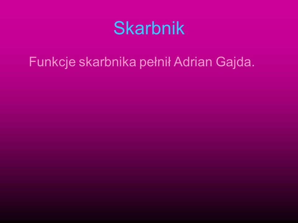 Skarbnik Funkcje skarbnika pełnił Adrian Gajda.