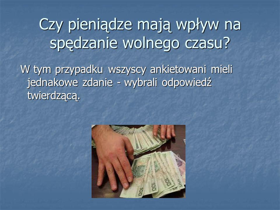 Czy pieniądze mają wpływ na spędzanie wolnego czasu