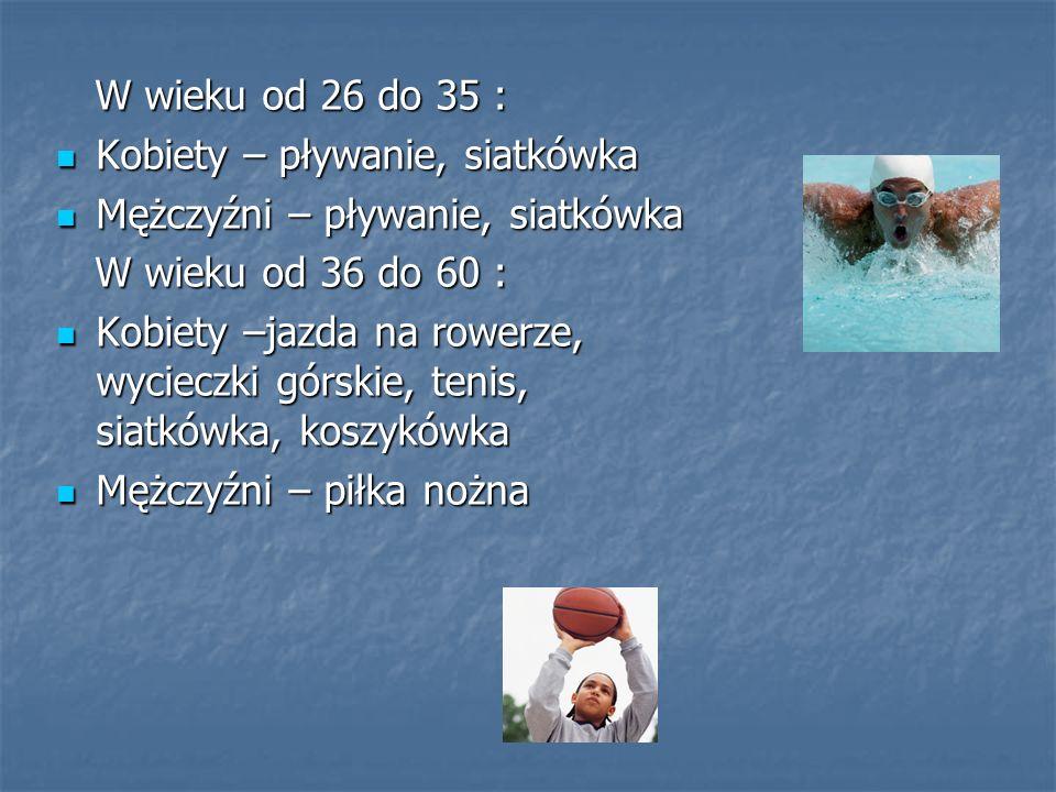 W wieku od 26 do 35 : Kobiety – pływanie, siatkówka. Mężczyźni – pływanie, siatkówka. W wieku od 36 do 60 :