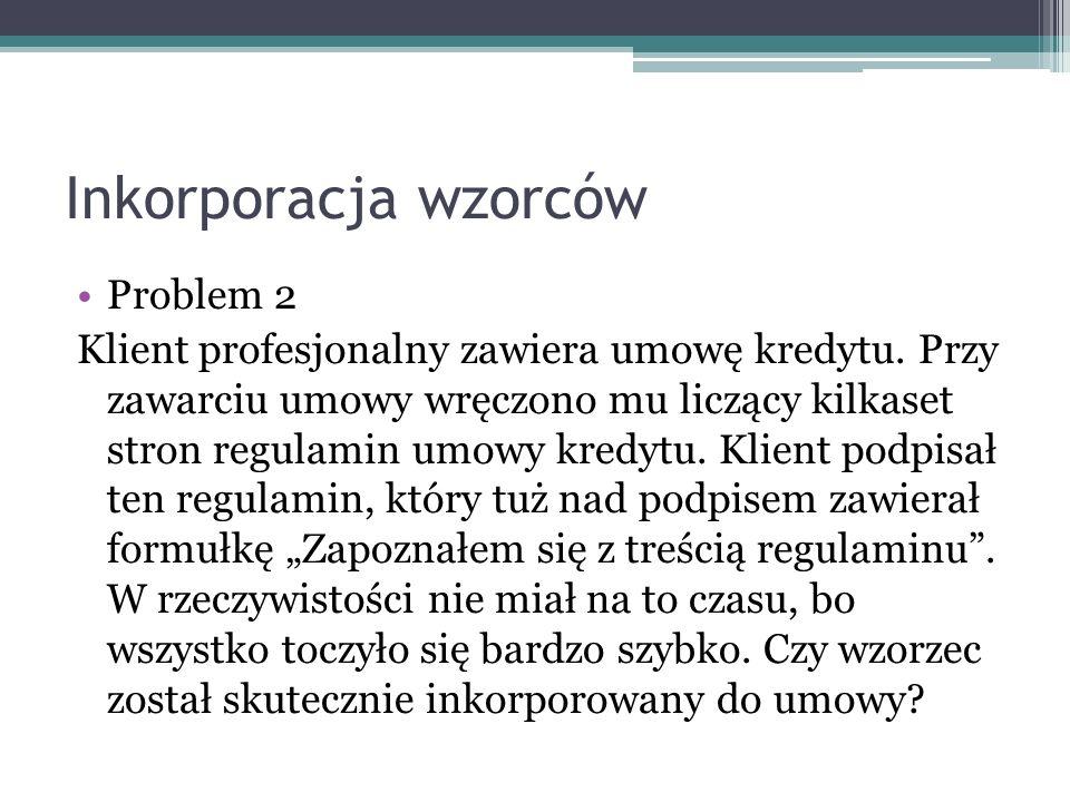 Inkorporacja wzorców Problem 2