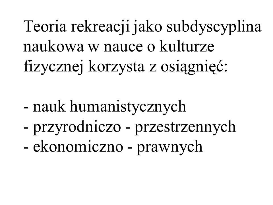 Teoria rekreacji jako subdyscyplina naukowa w nauce o kulturze fizycznej korzysta z osiągnięć: - nauk humanistycznych - przyrodniczo - przestrzennych - ekonomiczno - prawnych