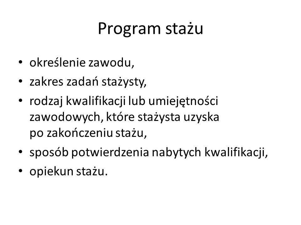Program stażu określenie zawodu, zakres zadań stażysty,