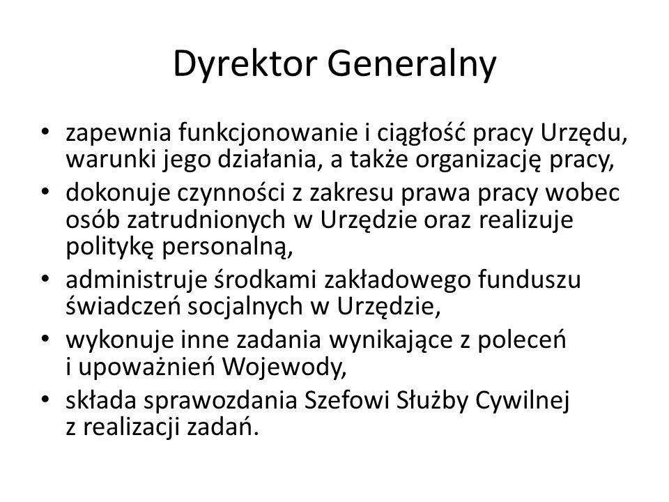 Dyrektor Generalny zapewnia funkcjonowanie i ciągłość pracy Urzędu, warunki jego działania, a także organizację pracy,