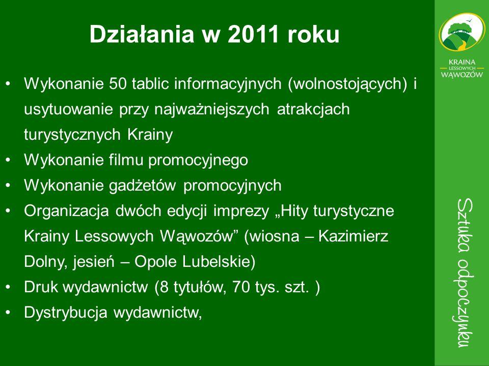 Działania w 2011 roku Wykonanie 50 tablic informacyjnych (wolnostojących) i usytuowanie przy najważniejszych atrakcjach turystycznych Krainy.