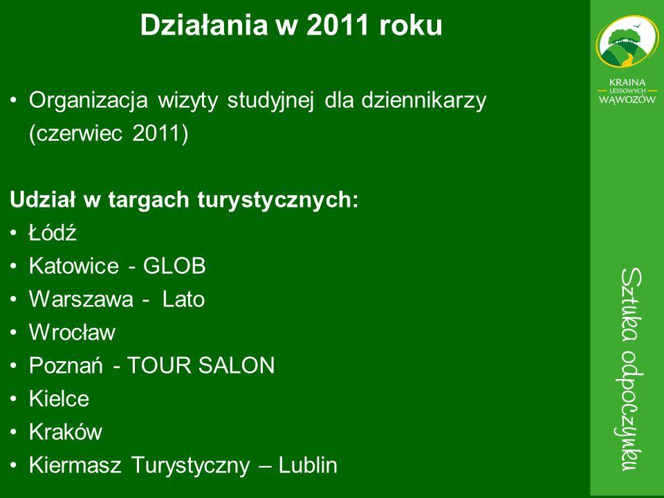 Działania w 2011 roku Organizacja wizyty studyjnej dla dziennikarzy (czerwiec 2011) Udział w targach turystycznych: