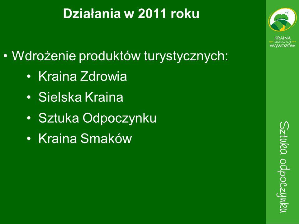 Działania w 2011 roku Wdrożenie produktów turystycznych: Kraina Zdrowia. Sielska Kraina. Sztuka Odpoczynku.
