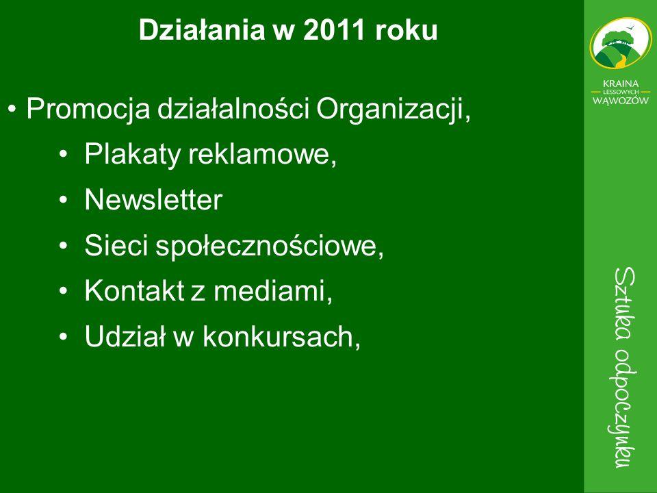 Działania w 2011 roku Promocja działalności Organizacji, Plakaty reklamowe, Newsletter. Sieci społecznościowe,