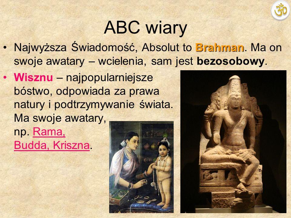 ABC wiaryNajwyższa Świadomość, Absolut to Brahman. Ma on swoje awatary – wcielenia, sam jest bezosobowy.