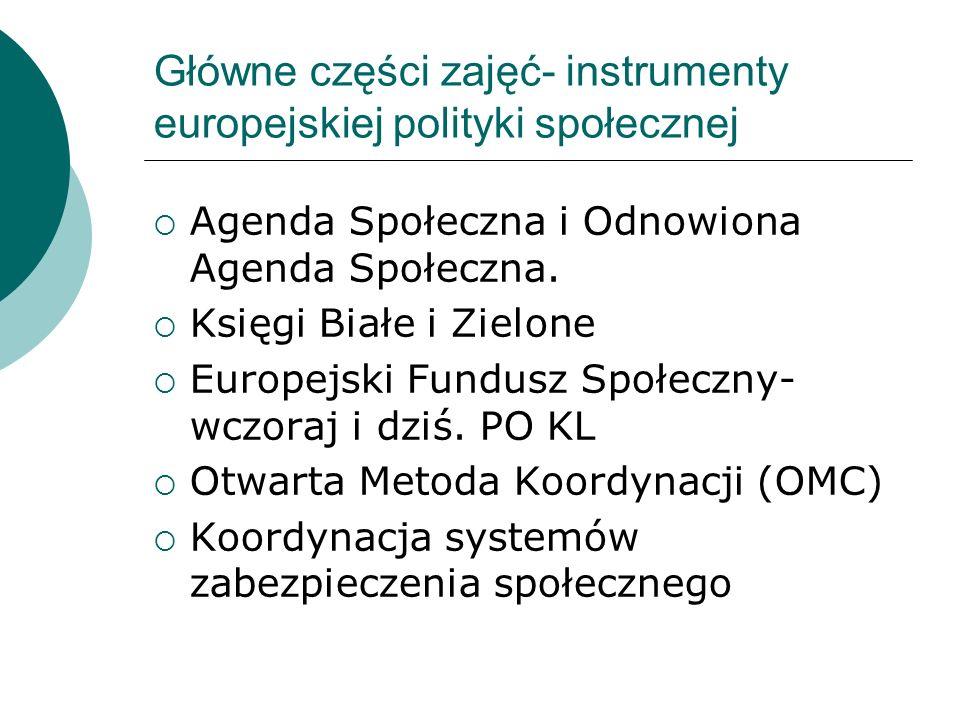 Główne części zajęć- instrumenty europejskiej polityki społecznej