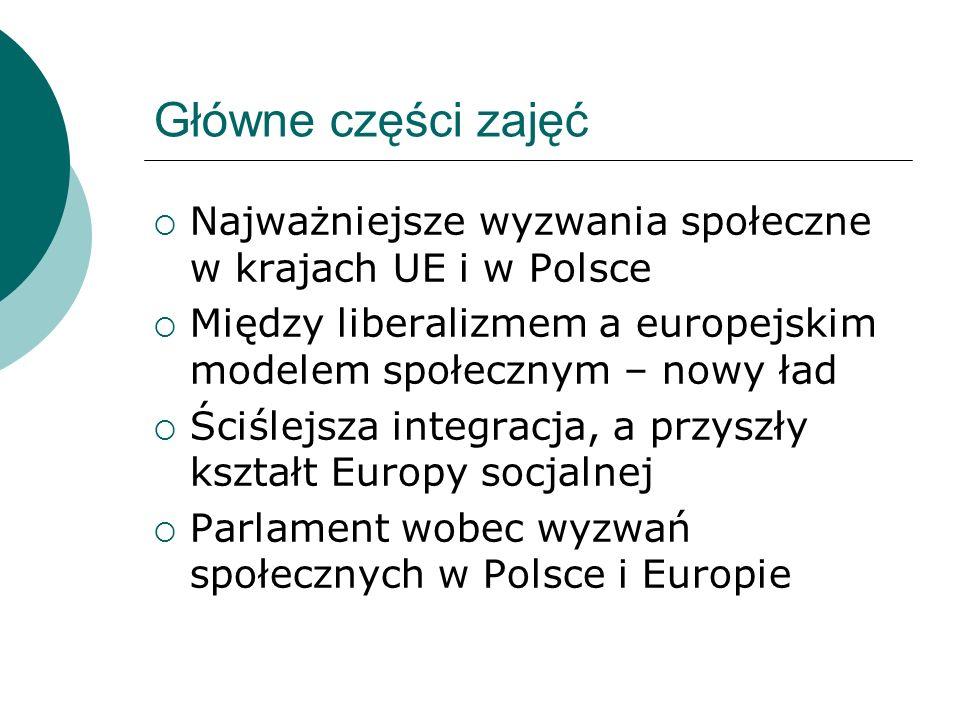 Główne części zajęć Najważniejsze wyzwania społeczne w krajach UE i w Polsce. Między liberalizmem a europejskim modelem społecznym – nowy ład.