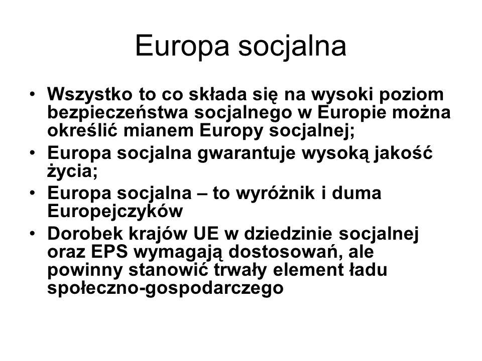 Europa socjalna Wszystko to co składa się na wysoki poziom bezpieczeństwa socjalnego w Europie można określić mianem Europy socjalnej;