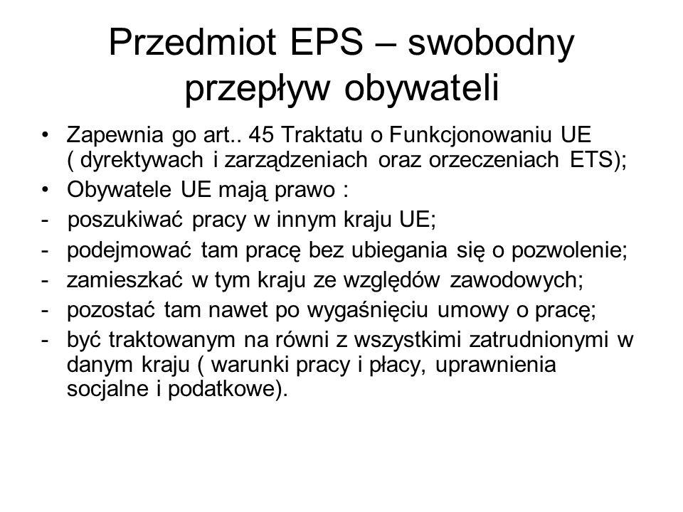Przedmiot EPS – swobodny przepływ obywateli