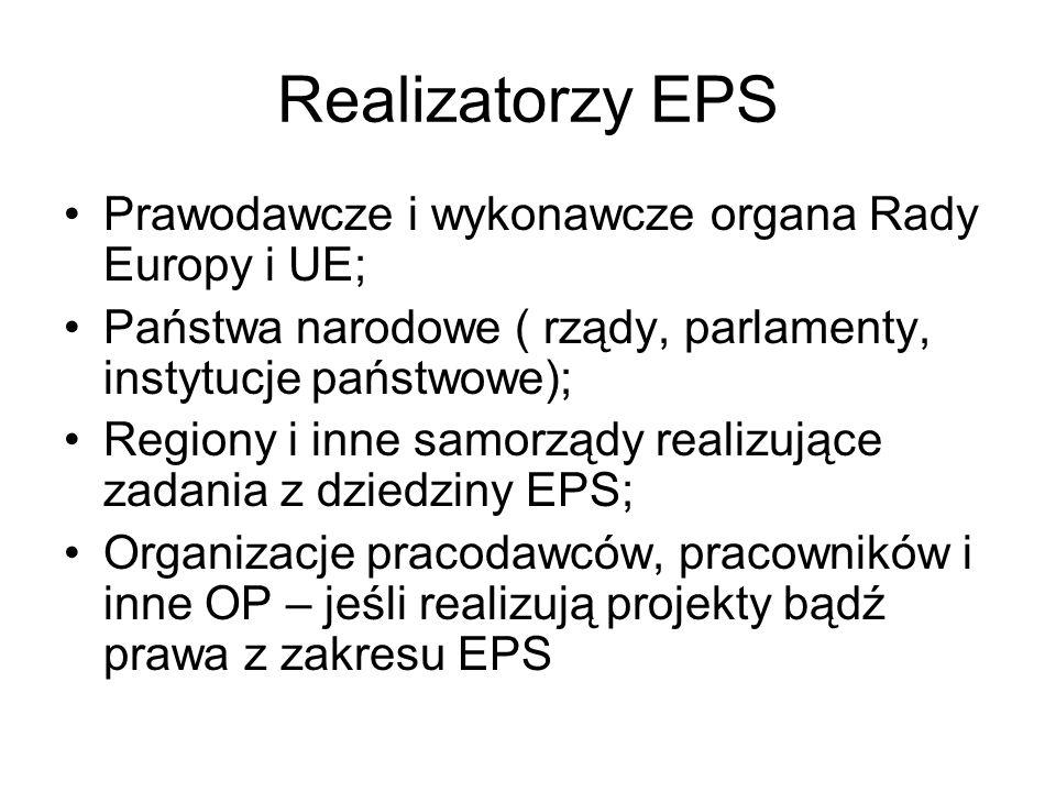 Realizatorzy EPS Prawodawcze i wykonawcze organa Rady Europy i UE;