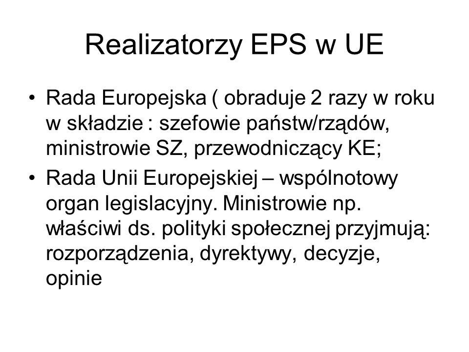 Realizatorzy EPS w UE Rada Europejska ( obraduje 2 razy w roku w składzie : szefowie państw/rządów, ministrowie SZ, przewodniczący KE;