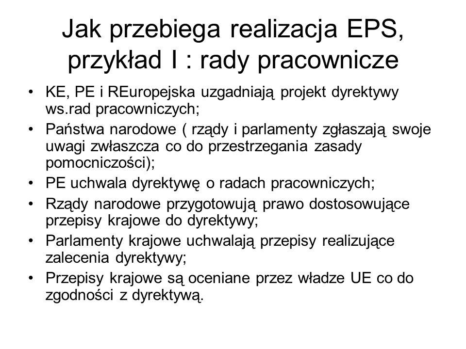 Jak przebiega realizacja EPS, przykład I : rady pracownicze