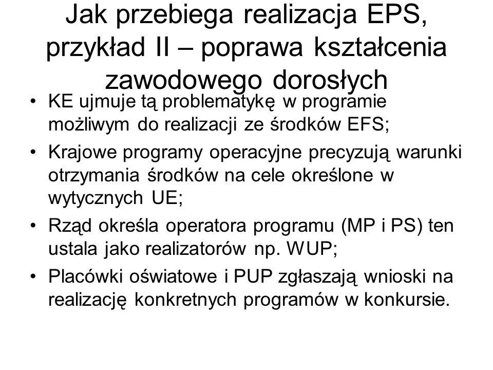Jak przebiega realizacja EPS, przykład II – poprawa kształcenia zawodowego dorosłych