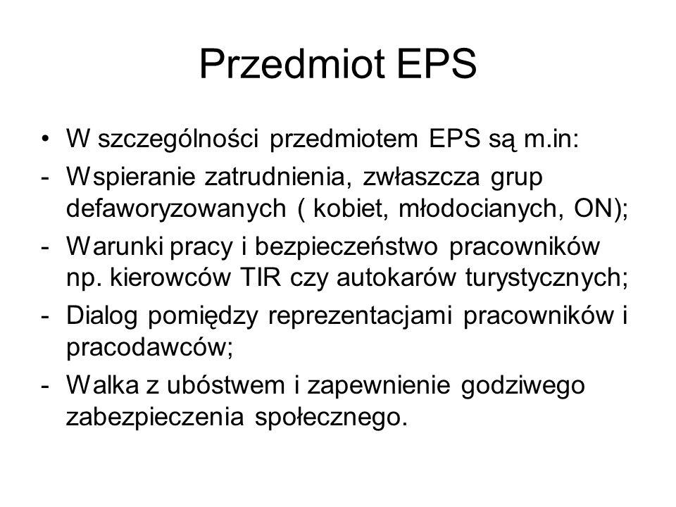 Przedmiot EPS W szczególności przedmiotem EPS są m.in: