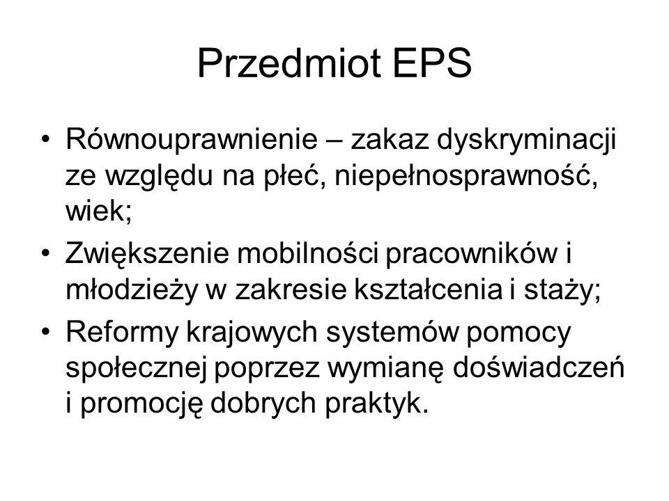 Przedmiot EPS Równouprawnienie – zakaz dyskryminacji ze względu na płeć, niepełnosprawność, wiek;
